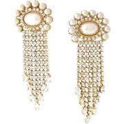 Runway Vintage Butler & Wilson Rhinestone Clip Earrings