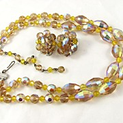 REDUCED Gorgeous Light Topaz AB Crystal Two Strands Necklace & Earrings