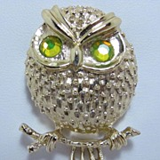 REDUCED Very Pretty Sarah Cov Owl on Brooch Pin Signed