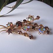 REDUCED Vintage Austria Flower Bouquet AB Brooch Pin