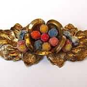 REDUCED Victorian Gold Tone Floral Brooch Pin with C Clasp