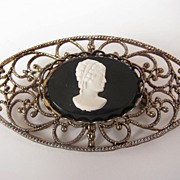 REDUCED Vintage Filigree and Cameo Brooch Pin