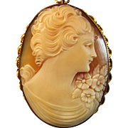 "SALE 1-3/4"" 10K Yellow Gold Shell Cameo Brooch Pendant"
