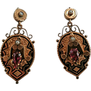 """SALE Exquisite 1-3/4"""" 10K Amethyst & Natural Pearl Taille d'Epargné Original 14K Pierced"""