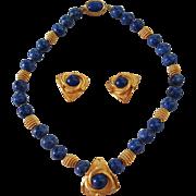 "SALE Wow! 16"" Faux Lapis Stone 10.3mm Bead Necklace & 1"" Earrings 22K Gold Tone"