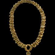 "Elegant 18"" Victorian Pinchbeck Pierced Link Collar Necklace"