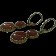 Spectacular 18K Double Cabochon Drop Earrings - 10.3 grams