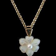 SALE Vintage 14K Cultured Pearl and Mother of Pearl Flower Enhancer Pendant