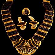 Certified 18K Lapis Lazuli Inlay & Bead Demi Parure - Necklace, Pierced Earrings & Ring