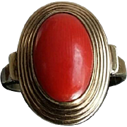 SALE Timeless Chic Dutch Blood Red Coral Cabochon 8K Gold Dress Ring - Size 7.5