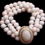 SALE 14K Triple Strand Blush Coral Bead Bracelet Cabochon Clasp - 46.6 grams
