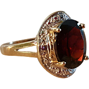 SALE Superb 10K Yellow & White Gold 4ct Garnet Ring