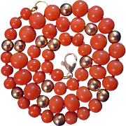 SALE Sweet Vintage 14K Salmon Coral 6-8mm Bead Necklace