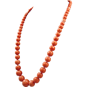 18K Salmon Rosa Coral  5.7-13.17mm Bead Necklace - 48.7 grams