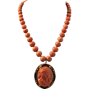SALE Gorgeous 12K Coral Bead Necklace with Coral Goddess Ceres Cameo Pendant
