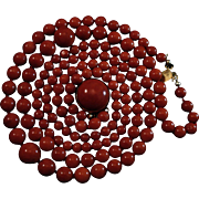 SALE Gorgeous 18K Sardinian Red Coral Bead Double Strand Necklace Cabochon Clasp  60.8 grams
