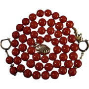SALE 14K Sardinian Red Coral 8.3-9.08mm Bead Necklace & Earring Suite - 53 grams