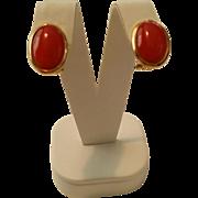 SALE 18K Dark Sardinian Red Coral Cabochon Post Omega Clip Earrings - 7.9 grams