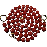 SALE 14K Sardinian Red Coral Bead Necklace & Earring Suite - 40.3 grams