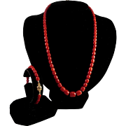 SALE 18K Yellow Gold Oxblood Red Coral Faceted Bead Necklace & Bracelet Suite - 42.3 grams