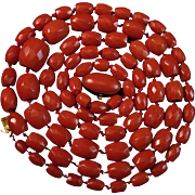 """SALE 30.5"""" 18K Sardinian Red Faceted Coral Bead Necklace Cabochon Clasp - 43.5 grams"""