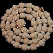 """SALE Vintage 14K Hand Carved Roses Angelskin Coral Bead Necklace 24.5"""""""