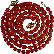SALE Magnificent 18K Oxblood Red Coral Faceted Bead Necklace & Bracelet Suite - 42.3 grams