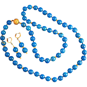 SALE 14K Deep Blue Persian Turquoise 10.25mm Bead Necklace & Earring Suite