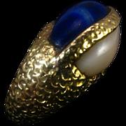 SALE Vintage 18K Lapis Lazuli Angel Skin Coral Cabochon Ring - 22.3 grams