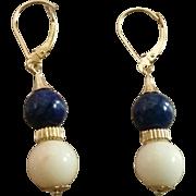 "SALE Classic 1-5/8"" Drops 18K Coral & Lapis Drop Earrings 4.9 grams"