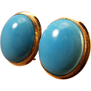 SALE Spectacular 18K Sleeping Beauty Turquoise Cabochon Earrings Pierced Omega Clips 12.6 gram