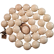 SALE Precious 1960's 14K  Angel Skin Coral 11-11.3mm Bead Necklace w/ Cabochon ...
