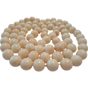 "SALE Amazing 37"" White Angelskin Coral Bead 11-11.6mm Necklace - 152.3 grams"