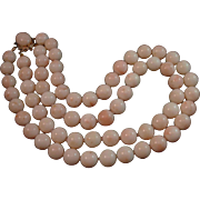 SALE Beautiful Double Strand 14K Angel Skin Coral 12mm Bead Necklace 154.5 grams