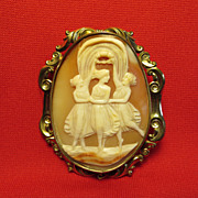 REDUCED Large Vic. Cameo Brooch, c. 1890. 3 Muses.