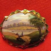 REDUCED 19th c. Enamel Brooch w/ River Landscape