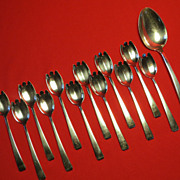 """REDUCED PRICE REDUCTION! 13 pc. Towle Sterling  """"Craftsman"""" Ice Cream Set"""