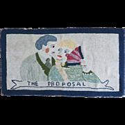 Vintage 1920 Hooked Rug. Flirting Couple.