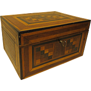 19th c. Am. Inlaid Wooden Box w/ Geometric Pattern