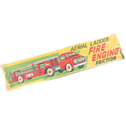 REDUCED! Vintage Tin Friction Aerial Ladder Fire Engine, Boxed.