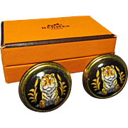 SALE Hermes Enameled Tiger Clip-on Earrings, boxed.