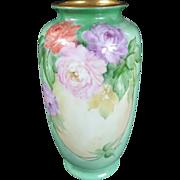 "SALE 1900 Limoges Floral Painted Vase by ""Geurlein."""