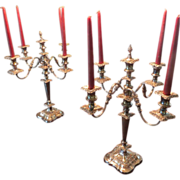 SALE REDUCED! Georgian Style Sheffield Plate Candelabra, c. 1900