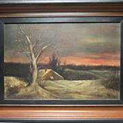 REDUCED! 19th c. Winter Landscape Painting w/ House & Tree