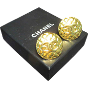 """SALE Chanel Gold Tone """"CC"""" Clip-on Earrings in Box."""