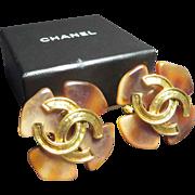 SALE Chanel Gold Tone & Faux Tortoiseshell Earrings