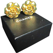 SALE Chanel Gold Tone Petal Clip-on Earrings, boxed.