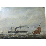 SALE 1860-70 Am. Side-wheeler entering French port.