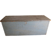 REDUCED 19th c. Blue Painted Sea Chest/Blanket Box