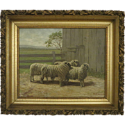 REDUCED 1890 Sheep Painting. Signed W. T. Robinson